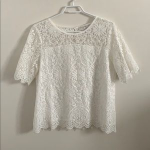2/$20: Molly Bracken White Lace Lined Blouse